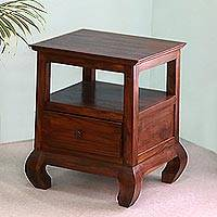 Teakwood nightstand, 'Sanur at Dawn' - Handmade Teakwood Nightstand from Bali