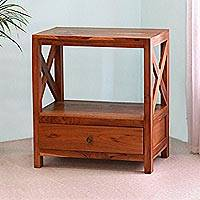 Teakwood nightstand, 'Sukawati at Dusk' - Artisan Crafted Teakwood Nightstand from Bali