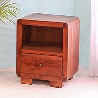 Teakwood nightstand, 'Ubud Morning' - Modern Teakwood Nightstand Crafted in Bali