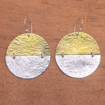 Sterling silver and brass dangle earrings, 'In-Between' - Circular Sterling Silver and Brass Dangle Earrings from Bali