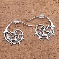 Sterling silver half-hoop earrings, 'Jolly Curls' - Curling Openwork Sterling Silver Half-Hoop Earrings