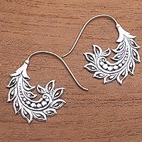 Sterling silver half-hoop earrings, 'Summer Pods' - Pod Motif Sterling Silver Half-Hoop Earrings from Bali