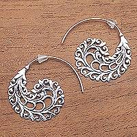 Sterling silver half-hoop earrings, 'Romantic Vines' - Vine Pattern Sterling Silver Half-Hoop Earrings from Bali