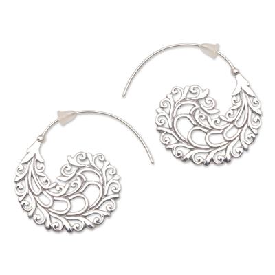 Sterling silver half-hoop earrings, 'Romantic Vines' - Vine Pattern Sterling Silver Half-Hoop Earrings from Bali