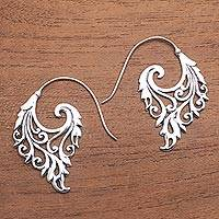 Sterling silver half-hoop earrings, 'Exciting Vines' - Vine Motif Sterling Silver Half-Hoop Earrings from Bali