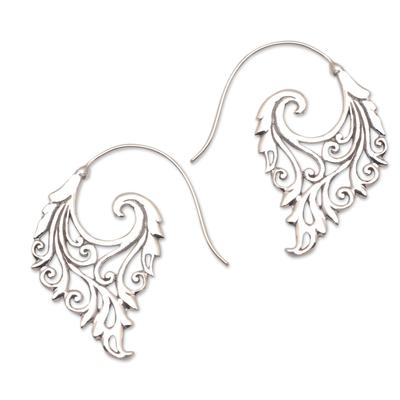Sterling silver half-hoop earrings, 'Exciting Vines' - Vine Motif Sterling Silver Half-Hoop Earrings from Bali