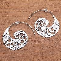 Sterling silver half-hoop earrings, 'Garden Waves'