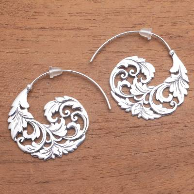 Sterling silver half-hoop earrings, 'Garden Waves' - Sterling Silver Vine Half-Hoop Earrings from Bali