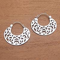 Sterling silver hoop earrings, 'Beautiful Curves'