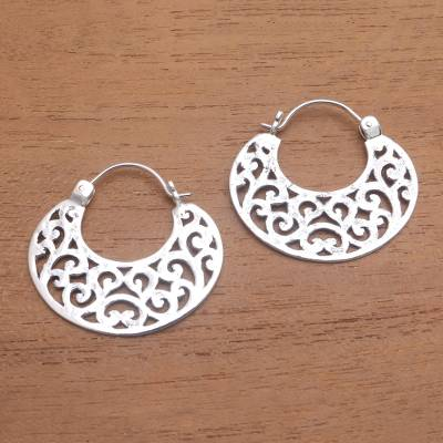 Sterling silver hoop earrings, 'Beautiful Curves' - Openwork Sterling Silver Hoop Earrings from Bali