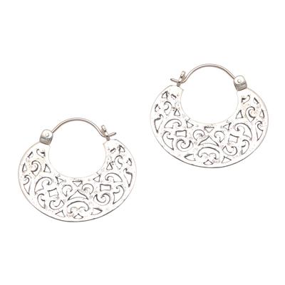 Sterling silver hoop earrings, 'Beautiful Curves' - Openwork Sterling Silver Hoop Earrings from Bali