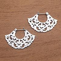 Sterling silver hoop earrings, 'Frilly Fans' - Frilly Sterling Silver Hoop Earrings from Bali