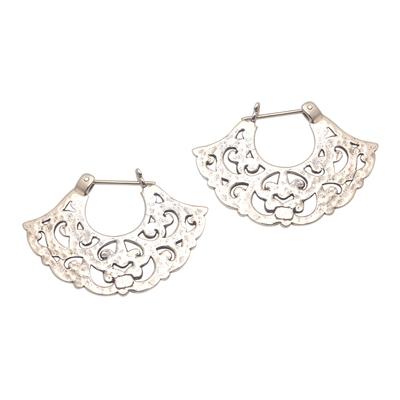 Sterling silver hoop earrings, 'Frilly Fans' - Frilly Sterling Silver Hoop Earrings from Bali