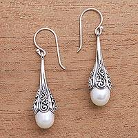 Cultured pearl dangle earrings, 'Mermaid Glow' - Swirl Pattern Cultured Pearl Dangle Earrings from Bali