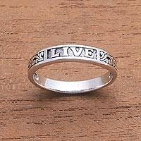 Sterling silver band ring, 'Live Swirls' - Inspirational Sterling Silver Band Ring from Bali