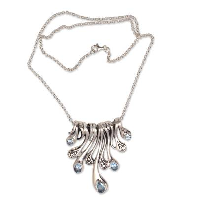 Blue topaz pendant necklace, 'Angels' Tears' - Teardrop Blue Topaz Pendant Necklace from Bali