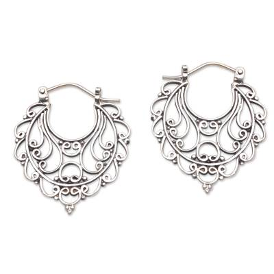 Swirl Pattern Sterling Silver Hoop Earrings from Bali