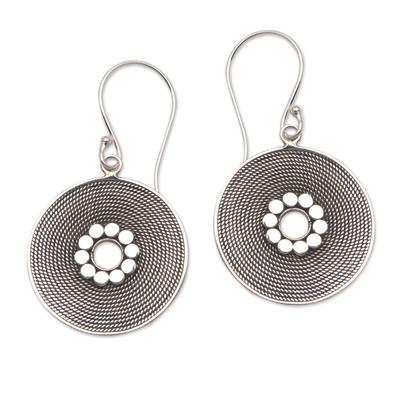Circular Rope Pattern Sterling Silver Dangle Earrings