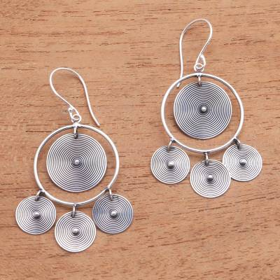 Sterling silver chandelier earrings, 'Mesmerizing Discs' - Circular Sterling Silver Chandelier Earrings from Bali