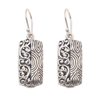 Sterling silver dangle earrings, 'Beautiful Duality' - Wave Pattern Sterling Silver Dangle Earrings from Bali