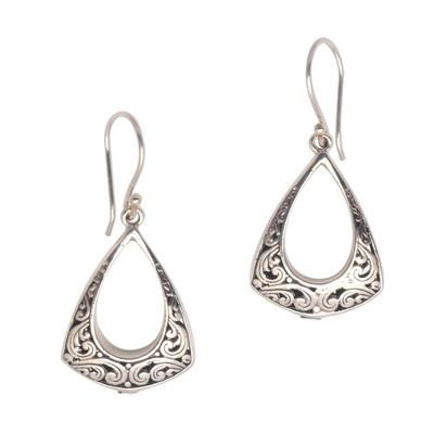 Sterling silver dangle earrings, 'Frame of Happiness' - Openwork Pattern Sterling Silver Dangle Earrings from Bali