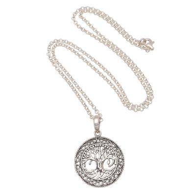 Sterling silver pendant necklace, 'Ancient Tree' - Circular Tree Sterling Silver Pendant Necklace from Bali