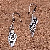 Sterling silver dangle earrings, 'Twisting Swirls' - Twisting Spiral Motif Sterling Silver Dangle Earrings