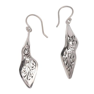 Sterling silver dangle earrings, 'Twisting Swirls' - Twisting Spiral Motif Sterling Silver Dangle Earrings