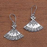 Sterling silver dangle earrings, 'Goddess Fans' - Fan-Shaped Sterling Silver Dangle Earrings from Bali
