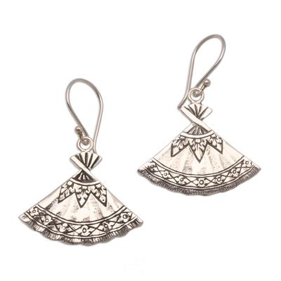 Sterling silver dangle earrings, 'Goddess Fans' - Fan-Shaped Sterling Silver Dangle Earrings from Bali