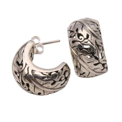 Sterling silver half-hoop earrings, 'Suspended Leaves' - Leaf Motif Sterling Silver Half-Hoop Earrings from Bali