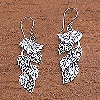 Sterling silver dangle earrings, 'Fantastic Forest' - Leaf-Themed Sterling Silver Dangle Earrings from Bali
