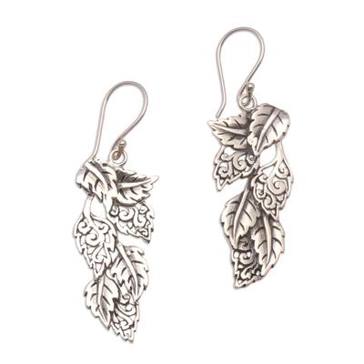 Sterling silver dangle earrings, 'Fantastic Forest' - Leaf-Themed Sterling Silver Dangle Earrings from Bali