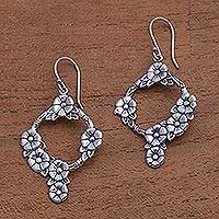 Sterling silver dangle earrings, 'Jepun Garland' - Frangipani Flower Sterling Silver Dangle Earrings from Bali