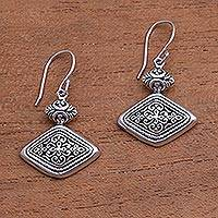 Sterling silver dangle earrings, 'Brilliant Design' - Rhombus-Shaped Sterling Silver Dangle Earrings from Bali