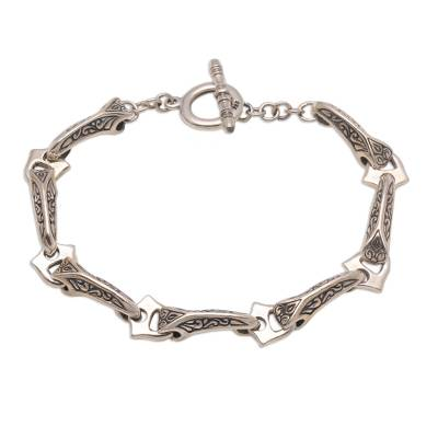 Combination Finish Sterling Silver Link Bracelet from Bali