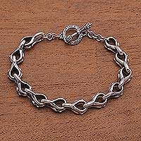 Sterling silver link bracelet, 'Bold Favor' - Bold Sterling Silver Link Bracelet from Bali