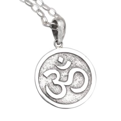 Sterling silver pendant necklace, 'Omkara Disc' - Circular Sterling Silver Om Pendant Necklace from Bali