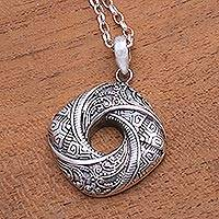 Sterling silver pendant necklace, 'Gallant Songket'