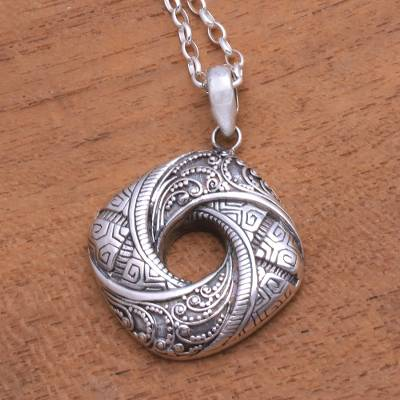 Sterling silver pendant necklace, 'Gallant Songket' - Songket Pattern Sterling Silver Pendant Necklace from Bali