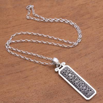 Sterling silver pendant necklace, 'Precious Heritage' - Rectangular Curl Pattern Sterling Silver Pendant Necklace