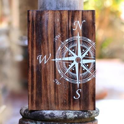 Wood wall sign, 'Compass' - Nautical Distressed Wood Wall Sign from Bali