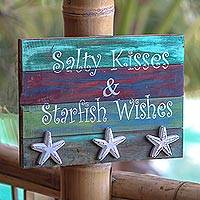 Wood wall sign, 'Starfish Wishes' - Starfish-Themed Whimsical Wood Wall Sign from Bali