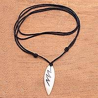 Bone pendant necklace, 'Beautiful Lightning' - Lightning Bolt Bone and Resin Pendant Necklace from Bali