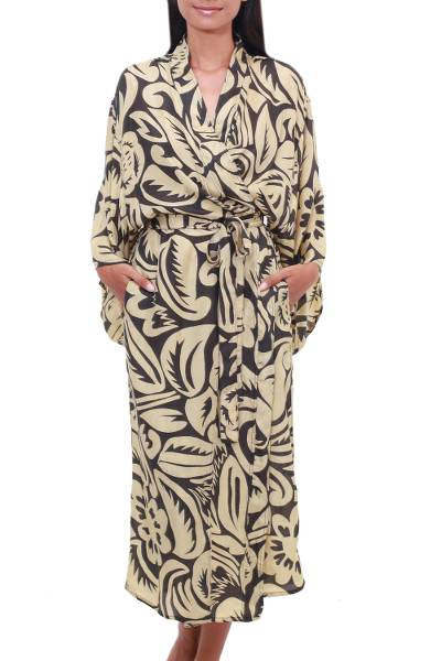Leaf and Floral Motif Printed Silk Robe from Bali
