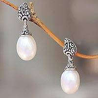 Cultured pearl dangle earrings, 'Classic Buddha's Curl' - Buddha'sCurl Cultured Pearl Dangle Earrings from Bali