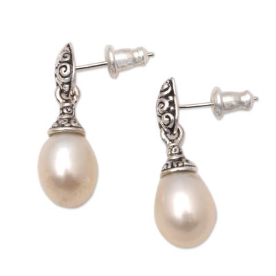Cultured pearl dangle earrings, 'Classic Buddha's Curl' - Buddha'sCurl Cultured Pearl Dangle Earrings from Bali