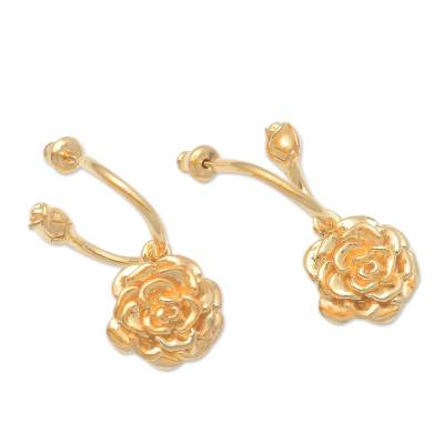 Gold plated sterling silver dangle earrings, 'Glinting Roses' - 18k Gold Plated Sterling Silver Rose Earrings from Bali
