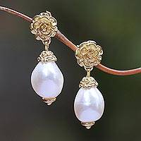 Gold plated cultured pearl dangle earrings, 'White Rose Bloom'