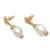 Gold plated cultured pearl dangle earrings, 'White Rose Bloom' - Floral Gold Plated Cultured Pearl Dangle Earrings from Bali (image 2d) thumbail